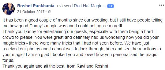 Wedding Magician Testimonial