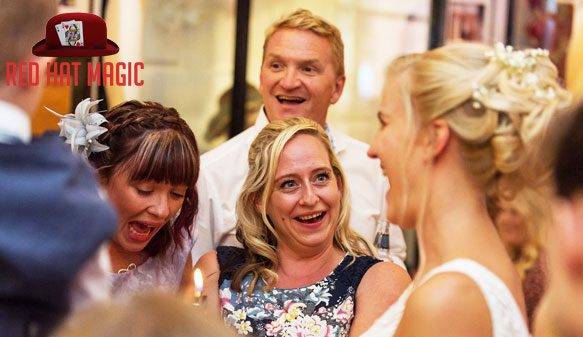 Bride laughing guest astonished at the wedding magic